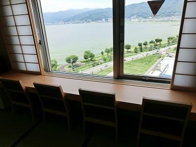 諏訪湖が望める部屋