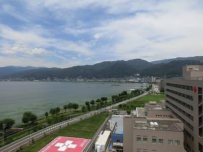 ホテルから諏訪湖の眺め