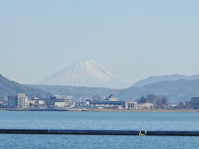 諏訪湖からの富士山の眺め
